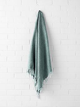 Vintage Linen Fringe Throw - Jade