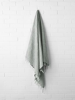 Vintage Linen Fringe Throw - Limestone
