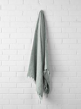 Vintage Linen Fringe Throw - Mist