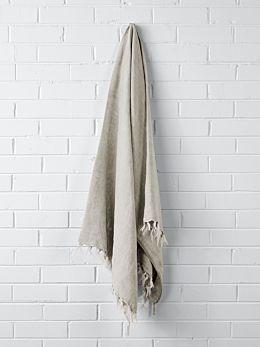 Vintage Linen Fringe Throw - Natural