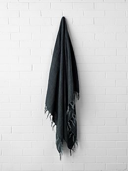 Vintage Linen Fringe Throw - Slate