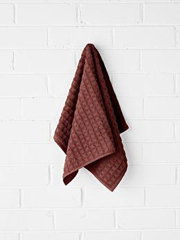 Waffle Hand Towel - Mahogany