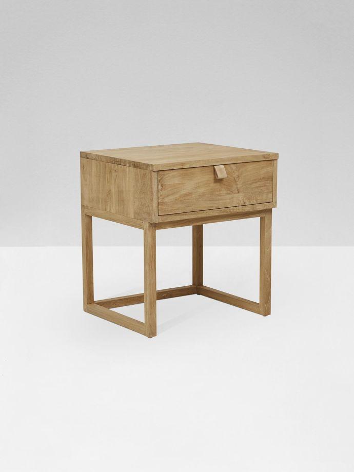 Side Table Teak.Willow Leather Tab Bedside Table Teak