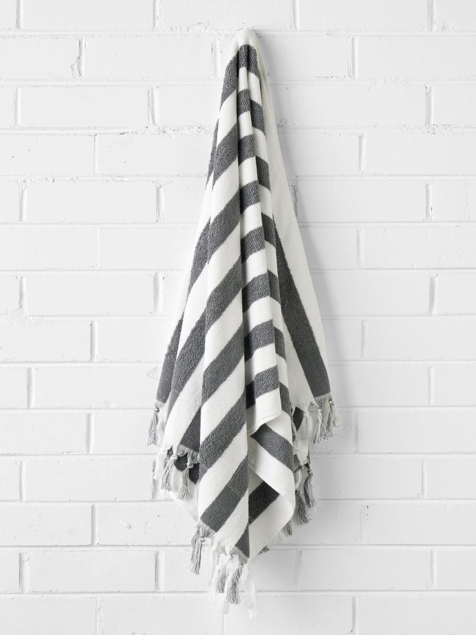 Smoke Stripe Bath Towel Aura Home