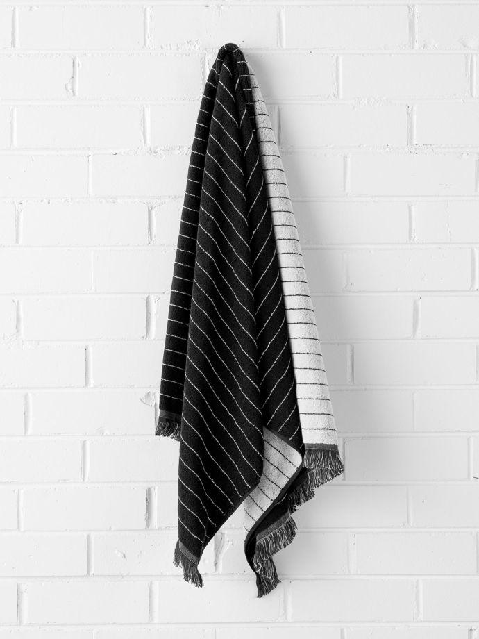 Black Vintage Stripe Bath Towel Aura Home