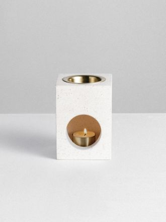 Limestone Cubic Oil Burner by Addition Studio