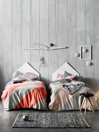 Big Stripe Quilt Cover - Coral