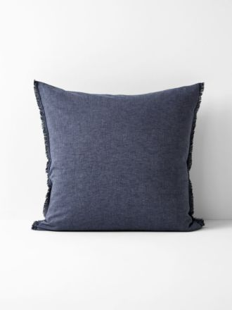 Chambray Fringe European Pillowcase - Indigo