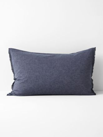 Chambray Fringe Standard Pillowcase- Indigo
