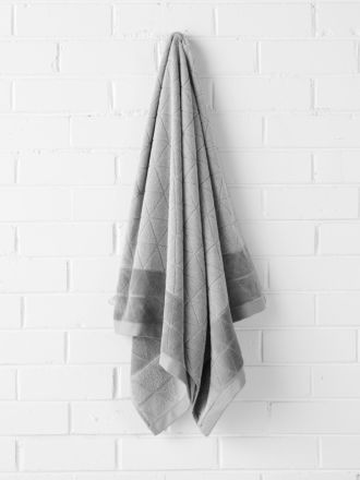 Chambray Border Bath Towel - Dove