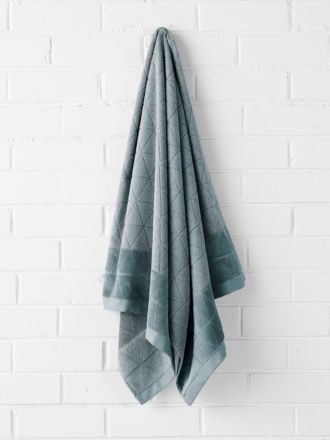 Chambray Border Bath Sheet - Eucalypt