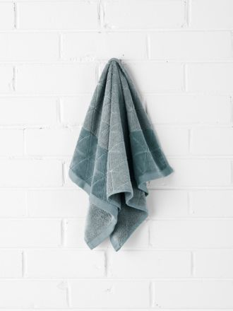 Chambray Border Hand Towel - Eucalypt