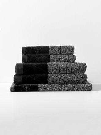 Chambray Border Bath Towel Set - Black