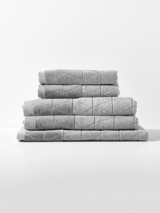 Chambray Border Bath Towel Set - Dove