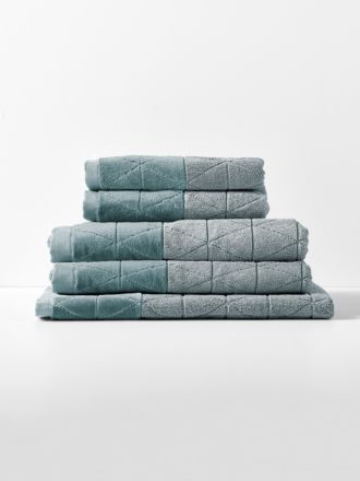 Chambray Border Bath Towel Set - Eucalypt