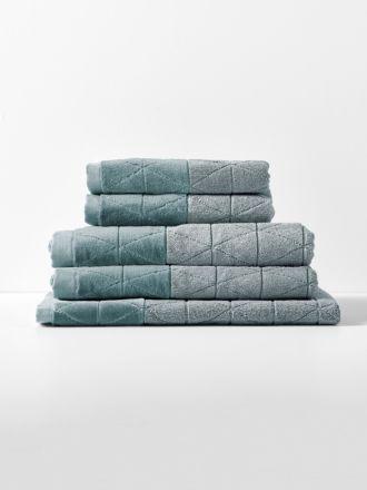 Chambray Border Bath Towel Set - Eucalypt
