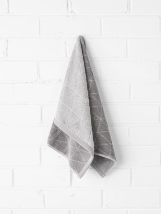 Chambray Diamond Hand Towel - Cloud Grey