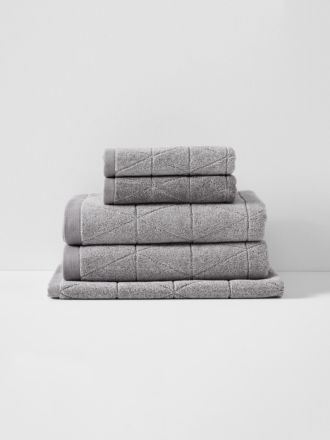 Chambray Diamond Bath Towel Set - Cloud Grey