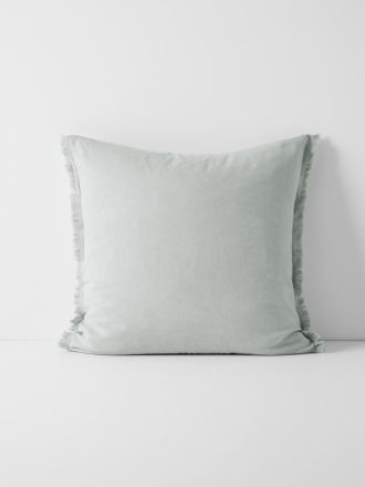 Chambray Fringe Border European Pillowcase - Cloud Blue
