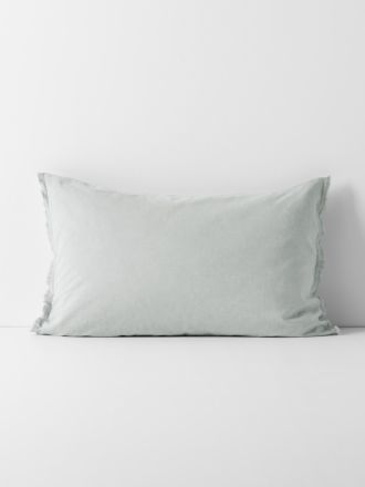 Chambray Fringe Border Standard Pillowcase - Cloud Blue