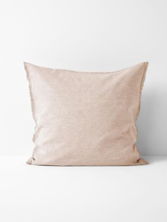 Chambray Fringe European Pillowcase - Blush