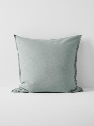 Chambray Fringe European Pillowcase - Mist