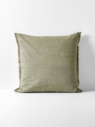 Chambray Fringe European Pillowcase - Olive