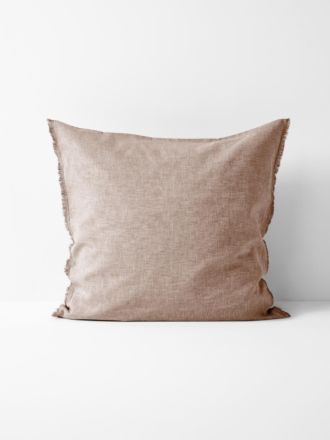 Chambray Fringe European Pillowcase - Pink Clay