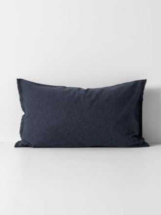 Chambray Fringe Standard Pillowcase - Ink
