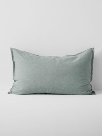 Chambray Fringe Standard Pillowcase - Mist