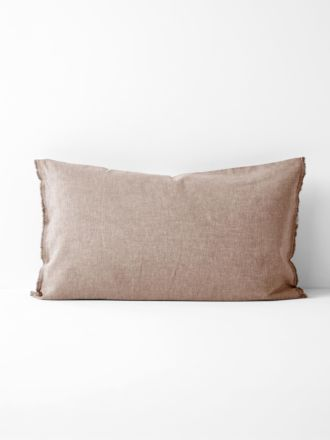 Chambray Fringe Standard Pillowcase - Pink Clay