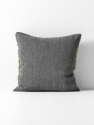 Chambray Linen Cushion - Black
