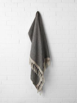 Chambray Linen Throw - Black
