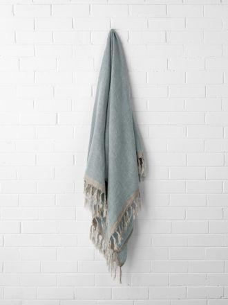 Chambray Linen Throw - Cloud Blue