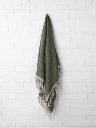 Chambray Linen Throw - Khaki