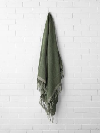 Chambray Linen Throw - Khaki