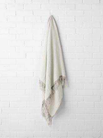 Chambray Linen Throw - Marshmallow
