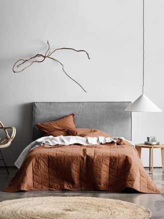 Chambray Vintage Stripe Bed Cover - Cinnamon