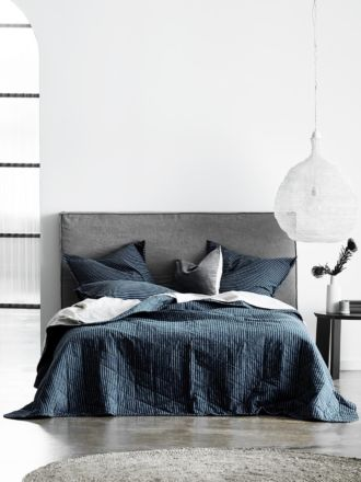 Chambray Vintage Stripe Bed Cover - Slate