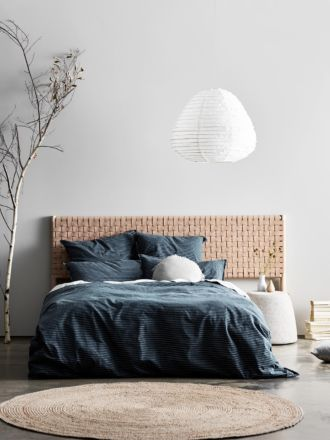 Seed Woven Leather Bedhead in Natural - Queen