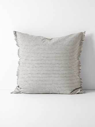 Chambray Vintage Stripe European Pillowcase - Black