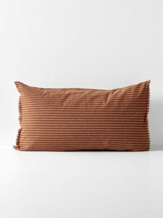 Chambray Vintage Stripe Standard Pillowcase - Cinnamon