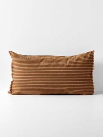 Chambray Vintage Stripe Standard Pillowcase - Cinnamon