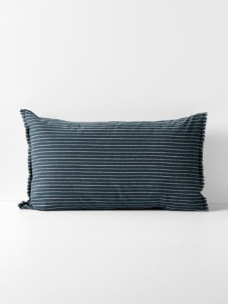 Chambray Vintage Stripe Standard Pillowcase - Slate