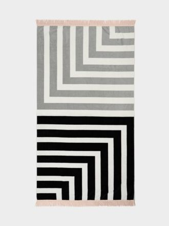 Corner Stripe Beach Towel - Black