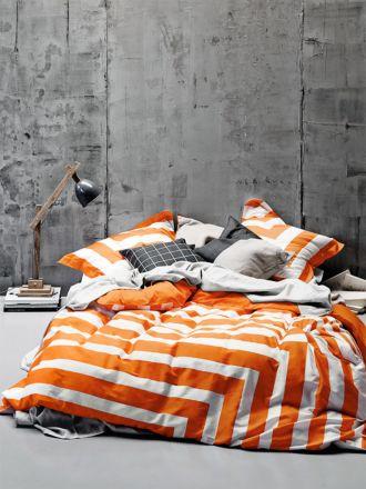 Corner Stripe Quilt Cover - Orange Poppy