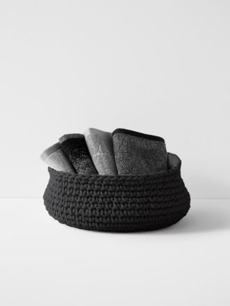 Crochet Basket - Extra Large Low - Black