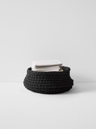 Crochet Basket - Large Low - Black