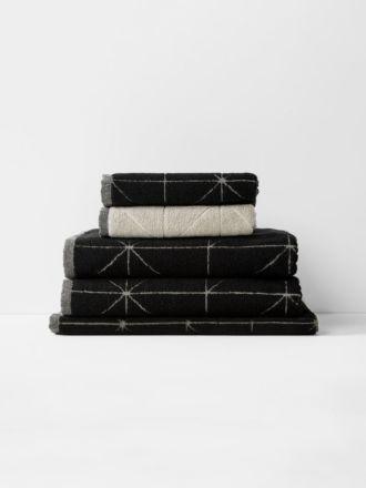 Duet Bath Towel Set - Black/Natural