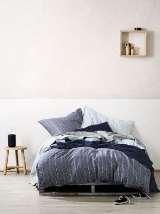 Feather Quilt Cover - Stone Blue